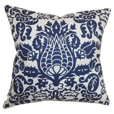 Cotton pillow with a damask motif. Made in the USA.  Product: PillowConstruction Material: Cotton cover and down...