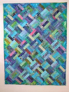 Batik Jelly Roll Quilt -  I just like the weaving idea