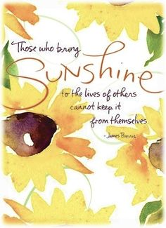 Those who bring sunshine to the lives of others cannot keep it from themselves.  James Barrie