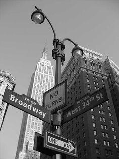 empire state building en noir et blanc panneau de rue new york