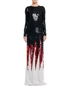 TOM FORD SEQUINED SHARD-PATTERN LONG-SLEEVE GOWN, BLACK/PINK/ORANGE. #tomford #cloth #
