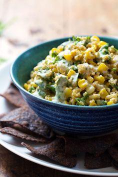 This Healthy Jalapeño Quinoa Corn Dip is loaded with color and flavor. Dip away! 200 calories. | pinchofyum.com #vegetarian #corn #dip