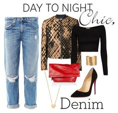 """Day To Night Chic"" by youaresofashion ❤ liked on Polyvore featuring Jennifer Zeuner, rag & bone, 3.1 Phillip Lim, Torn by Ronny Kobo, Jil Sander, Christian Louboutin and DayToNightdenim"