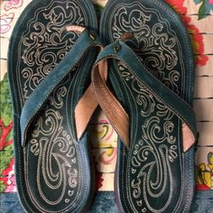 NWOT Teal Olukai Sandals super comfy leather with detailing, never been worn, brand new Olukai Shoes Sandals