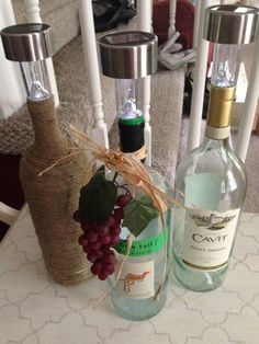 Our Crafty Mom: Wine Bottle Solar Lights Such a great idea for making some outdoor lighting for the patio....