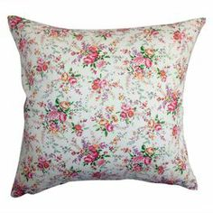 """Cotton and down-blend pillow with a floral rose motif.    Product: PillowConstruction Material: Cotton cover and down fillColor: RoseFeatures:  Insert includedHidden zipper closureMade in the USA Dimensions: 18"""" x 18""""Cleaning and Care: Spot clean"""