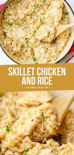 Skillet Garlic Chicken and Rice Casserole is a simple go-to chicken dinner that is flavorful, & only uses one pan! My family loves this chicken dinner recipe and I love how easy it is to prepare! #dinnerrecipes