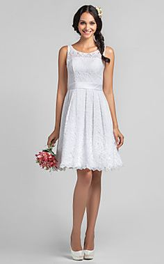 A-line Scoop Knee-length Lace Bridesmaid Dresses – USD $ 149.99