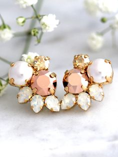 Rose Gold Earrings, Bridal Rose Gold Earrings, Cluster Earrings, Bridesmaids Earrings, Pearl Stud Earrings, Swarovski Earrings, Opal Studs These fabulous vintage inspired earrings can be worn in a variety of ways for many occasions. The classic styling & Crystals make these earrings