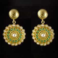 Dot Earrings Pearl/Green now featured on Fab.