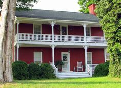 red exterior houses | Selecting the Right Exterior Paint Schemes for Brick House