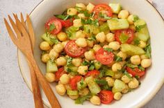 Grape tomatoes and fresh cilantro add colour to this flavourful Chickpea Salad. Its a cinch to make and a tasty way to get more chickpeas on the menu! Chickpea Salad Recipes, Bean Salad Recipes, Lunch Recipes, Yummy Recipes, Kraft Recipes, Make Ahead Salads, Lime Vinaigrette, Cooking Instructions, Greek Salad