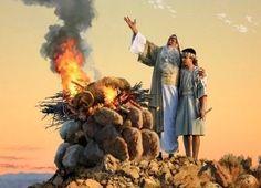Abraão e Isaque no sacrifício do carneiro. Gen 22:13