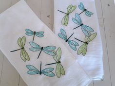 Embroidered Dish Towel Set of Two Dragonfly Motif Turquoise and Lime Green Flour Sack Kitchen Towels Towel Embroidery, Cross Stitch Embroidery, Machine Embroidery, Hand Embroidery Projects, Embroidery Patterns, Dish Towels, Tea Towels, Towel Set, Tricot