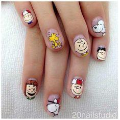 Cute Acrylic Nails, Cute Nails, Pretty Nails, Nail Manicure, Pedicure, Gel Nails, Nextgen Nail Colors, Snoopy Nails, Anime Nails