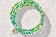 Memory wire bracelet leaf charm beaded by MontanaAnniesJewelry