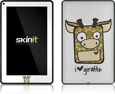 Skinit I HEART giraffe Vinyl Skin for Amazon Kindle Fire by Skinit. $19.99. IMPORTANT: Skinit skins, stickers, decals are NOT A CASE. Our skins are VINYL SKINS that allow you to personalize and protect your device with form-fitting skins. Our adhesive backing can be applied and removed with no residue, no mess and no fuss. Skinit skins are engineered specific to each device to take into account buttons, indicator lights, speakers, unique curvature and will not inter...