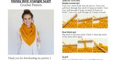 Honey Bird Triangle Scarf:Shawl Crochet Pattern.pdf