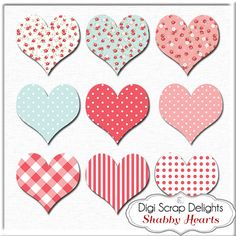 Hearts Clip Art & Heart Banner for Digital by DigiScrapDelights #banner #hearts #clipart #shabby #rose