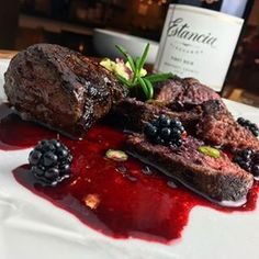 Seared Elk Backstrap Medallions with Blackberry Reduction Sauce!!! Andy said it's a TOP 5 best meals ever! Reduction Sauce: 1 cup neighbors blackberries, 1 chili pepper, 2 tbs honey, 3 tbs balsamic vinegar, 1/2 cup pinot noir, sprigs of rosemary and 2 tbs butter! #rmef #bugle #elk #elkmeat #huntnevada #huntelk #elkrecipes #wildgame #gardengrown #gardening #eatoutdoors #cookingelk #outdoorchannel #sportsmanschannel #cabelas #heaven #nevadafoodies this reduction would pair well with #venison…