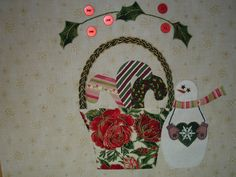 This photo shows the snowman a little better.that is her starry eyes and sparkling body. All hand appliqued except for the holly leaves (and buttons) in garland. stitched by myself, December PS. Hand Applique, Embroidery Applique, Christmas Skirt, Christmas Ideas, Basket Quilt, Sampler Quilts, Sewing Appliques, Holly Leaf, Hand Quilting
