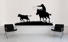 Hey, I found this really awesome Etsy listing at http://www.etsy.com/listing/122354468/cowboy-on-his-horse-roping-a-calf-vinyl
