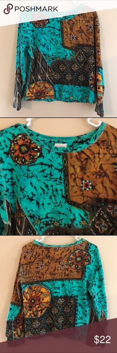 Chico's Size 2 (12/14) Ladies Artsy Top Colorful Chico's Size 2 (12/14) ladies top with 3/4 length sleeves. Some embellishments. Good preowned condition. Chico's Tops