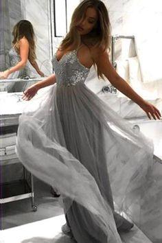 64ec84e611d Silver V-neck Gray Tulle Long Formal Evening Dresses Sequin Prom Dress PL194