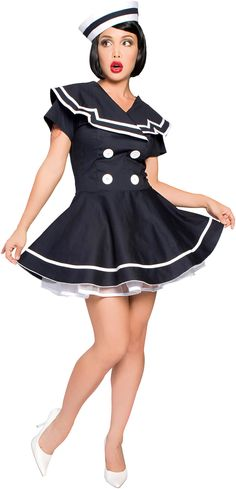 Old-fashioned pin up girls are one of my absolute favorite looks, and this little number is divine! #Hallowhenever