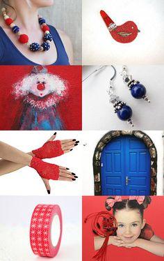 Blue and Red by Marlena Rakoczy on Etsy--Pinned with TreasuryPin.com