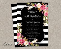 Elegant floral black and white stripe bridal shower invitation. Featuring a botanical design with pink watercolor flowers. Perfect for a striped, botanical or flower themed wedding shower. 50th Birthday Party Invitations, Printable Wedding Invitations, Floral Wedding Invitations, Bridal Shower Invitations, Invites, Elegant Bridal Shower, Striped Wedding, Wedding Menu Cards, Bridal Shower Decorations