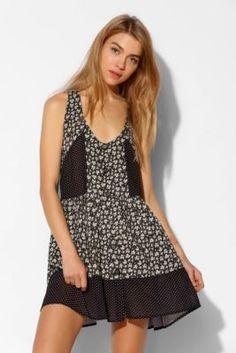 Nolitha Patchwork Button-Down Slip Dress