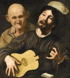 A guitar player with an old man behind, by Disciple of Pietro Paolini