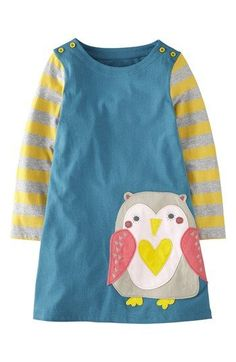 Mini Boden 'Fun' Appliqué Dress (Toddler Girls, Little Girls
