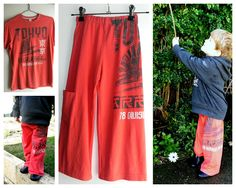 Lounge pants upcycled from old tees.  Must look through J's old tees to make some cool pants for T!