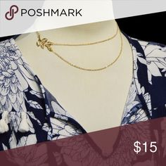 "Layered Leaf Delicate Necklace Gold Plated *Layered Leaf Delicate Necklace Gold Plated  *Chain are 16"" and 19""  *Delicate, High quality chain, with a lobster claw clasp.  *Comes wrapped in a velvet bag and gift box 1236  tags: fashion, trendy, kardashian, charm, ladies, women, dainty, minimal, minimalist, layered necklace, multi strand necklace, leaf Handmade Jewelry Necklaces"