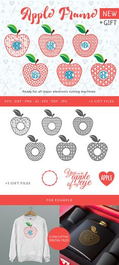 Apple Circle Monogram Frame SVG Apple Frame Cutable Files Silhouette Studio Cricut Vinyl Cutter Heat Press Transfer