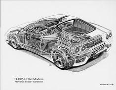Ferrari 360 Modena cutaway by Shin Yoshikawa