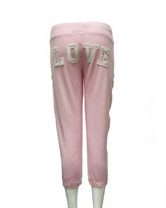 Ladies Pink Love Printed Back Drawstring Sweat Pants