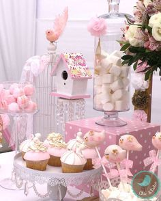 Sweets at a bird baptism party! See more party planning ideas at CatchMyParty.com!