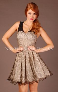 Cream, Black And Gold A Line Party Dress