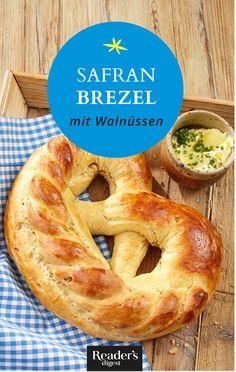 Safranbrezel mit Walnüssen Brunch, Bagel, Bread, Food, Play Dough, Oven, Food Portions, Food Food, Rezepte