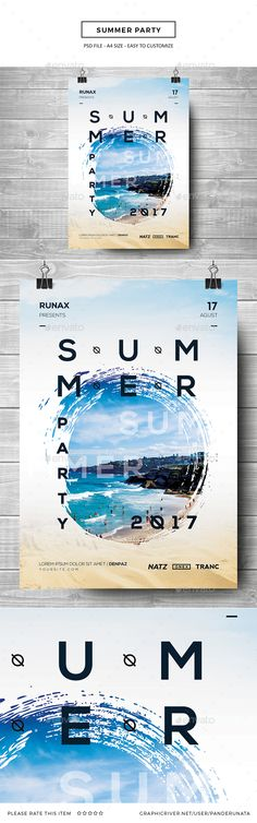 Summer Party Flyer Template PSD. Download here: https://graphicriver.net/item/summer-party/17293441?ref=ksioks