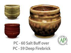 AMACO Potter's Choice layered glazes PC-59 Deep Firebrick and PC-60 Salt Buff.