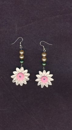 CHEAPLY PRICED. $7.55.   FREE NECKLACE WITH EVERY PURCHASE!  Silver-Plated / Stainless Steel / Glass Pearl Earrings with Polymer Clay Flower Pendants. Genuine Czech Rhinestones in centre. https://www.etsy.com/ca/shop/JehovahJJewellery?ref=si_shop