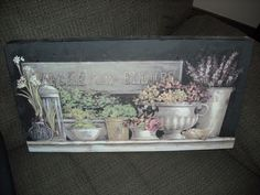 """17""""   shabby n chic painting canvas parisian  picture flowers floral wall decorfor sale in my store The Chic N Prim cottage ebay have to put in the """"the """" in search engine"""
