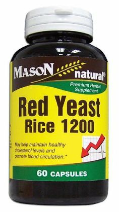 Mason Vitamins Red Yeast Rice 1200, 60 Capsules, Bottles (Pack of 2) by Mason Vitamins. $12.86. Mason Vitamins Red Yeast Rice Complex 600Mg Capsules are herbal supplements that may help maintain healthy cholesterol levels and promote blood circulation. Red yeast rice has been used in China for centuries as a food and as a medicinal substance. Red yeast rice is used to help maintain healthy cholesterol and help upset stomach.    Legal Disclaimer:    These statem...