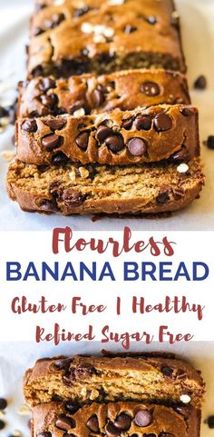Easy Flourless Banana Bread This flourless banana bread is such a delicious, gluten free treat! Not to mention it's so easy to make! Perfect for moms who need a healthy treat option for kid, and it also makes a delicious house warmer! Gluten Free Banana Bread, Banana Bread Recipes, Banana Bread With Oats, Flourless Banana Bread Recipe, Oat Flour Banana Bread, Healthy Gluten Free Bread, Choc Chip Banana Bread, Healthy Banana Recipes, Flourless Cake
