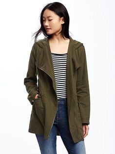 Hooded Twill Asymmetric-Zip Field Jacket for Women