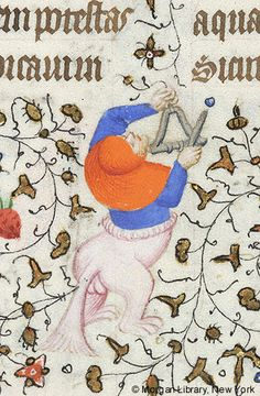 Hybrid man, wearing hood, playing triangle | Book of Hours | France, Paris | ca. 1420-1425 | The Morgan Library & Museum